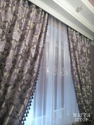 сиреневые шторы с цветами