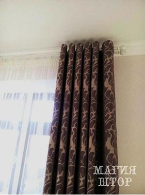 шторы на люверсах с крупным узором