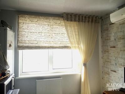 комплект штор в кухню современного интерьера