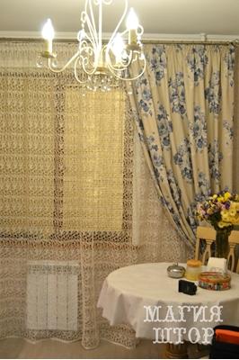 шторы в кухню под Гжель