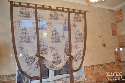 декоративная шторка в кухню корабли