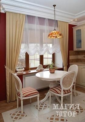 светлые шторы в кухню