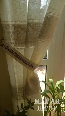 гардина с вышивкой лен