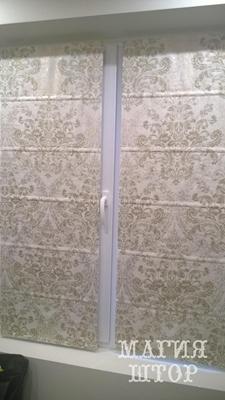 римские шторы на створку окна из ткани лен состаренная печать золотом