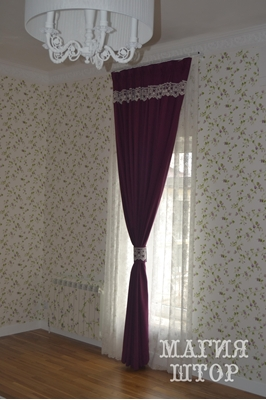 штора с ажурными кружевными бардюрами