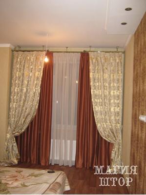 двухслойные шторы в  терракотовую спальню